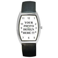 New Personalized Custom Your Logo Design Photo Text for Barrel Style Metal Watch