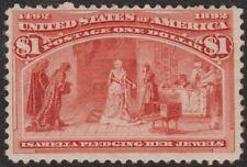 1893 $1 Columbian #241 F-Vf Centering, Regummed, Sound, Pretty Stamp! $1,000 Cat