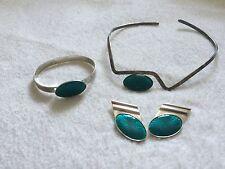 Vtg '80 modernist minimalist enamel JPA sterling necklace earrings bracelet