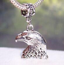 Oversized Bald Eagle Bird Hawk Head Birder Dangle Charm for European Bracelets