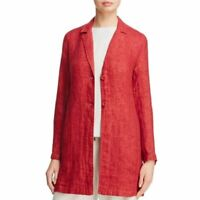 EILEEN FISHER L Organic Linen Double-weave Long Jacket Duster Serrano Red  $378