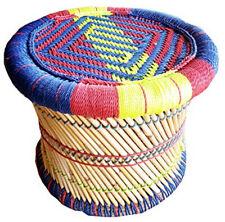 KKSM Handmade Pushkar Rajasthani Poufs Cane Bar Stool/Muddha colorful Vintage