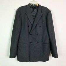 +J Jil Sander + Uniqlo Blazer Jacket Men's XL 100% Wool Gray Double Breasted