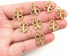 10 Shamrock Charms Clover Charms Miniature Charms 4 Leaf Gold Good Luck