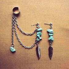 Turquoise Leaf Earrings & Chain Tassel Cuff Set - Stud Wrap Silver Gold Boho