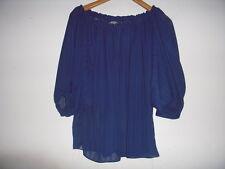 Vintage Navy Blue Stripe Sheer Chiffon Off the Shoulder Bardot Blouse top L/XL