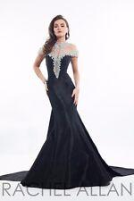 Rachel Allan Prima Donna 5833 Black Rhinestoned Pageant Gala Gown Dress sz 2