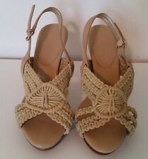BANANA REPUBLIC NATURAL BOHO CROCHET SLINGBACK SANDALS LADIES SIZE 7M