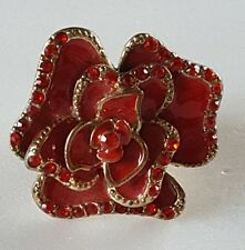 Chunky Red Enamel Rhinestone Flower Stretch Ring