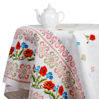 Gray Cotton Tablecloth w/ Floral Print in Russian Ukrainian Folk Style