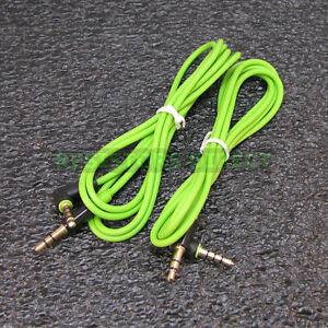 2x Green High Quality Gold Plated 3.5mm Auxillary Cable Right Angle Audio S39
