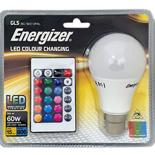 1 x Energizer Colour Changing Light Bulb B22 GLS LED RGB+W with Remote Control