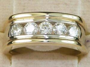 Men's 14k Multi Tone Gold Diamond-1.25 tcw Five Stone Band Fine Ring-Size 9.75