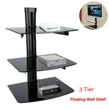 UK Heavy Duty Glass TV Wall Mount Bracket For DVD Sky Box Game Console LCD LED