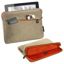 Weiche Tablet Tasche 10,1 Zoll (25,7cm) Schutz Hülle mit Zubehörfach, beige