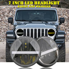 Pair 7Inch Black Round LED Headlight High/Lo Beam DRL Projector For Harley Jeep