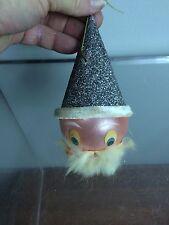 "Vtg 5.5"" Santa Mica Glitter Paper Hat Chenille Trim Glass Xmas Ornament - W Ger"