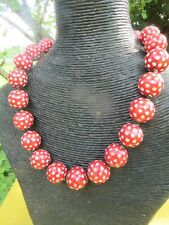 Rockabilly Red /White Polka Dot  Glass Bead Choker  Necklace .