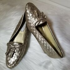 Trotters Womens KIM Woven Gold Comfort Shoes Loafers Slip-On Flats Size 9 N ~EUC