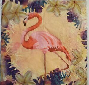 TWO(2) Dinner Napkins, Decoupage, Crafts, Flamingo, beach, island, Pink, Bird