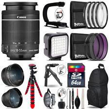 Canon EFS 18-55mm IS STM - Video Kit + LED KIt + Tripod - 64GB Accessory Bundle