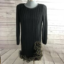 After Dark Vintage 7/8 Accordion Ruffle Pleated Evening Long Sleeve 80's Dress
