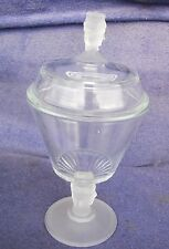 """Duncan Miller THREE FACES Tall Covered Compote Pressed Glass 9"""" 19th Century"""