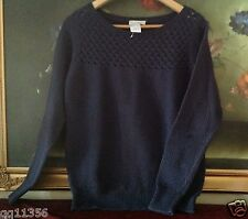 NWT ANN TAYLOR LOFT cotton Basketweave stitched Sweater Ballet neck Navy M