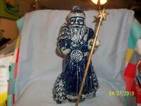 Vintage Rowe Pottery 2002 Salt Glazed  Santa W/Star Staff (retired)