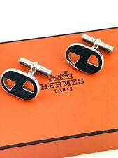 HERMÈS Cufflinks Cavalier Sterling Silver .925 SIGNATURE H LOGO ABSTRACT OVAL