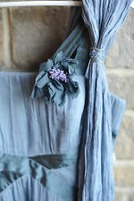 Hermosa 100% seda azul aciano Vestido Grecian Estilo-tamaño 10 preloved