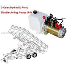 12V 3 Quart Tank Double-Acting Hydraulic Pump Power Unit Dump Trailer Unloading