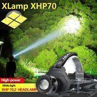 150000 Lumen XHP70 LED Headlamp Headlight USB Reachargable Zoom Torch Lamp Light