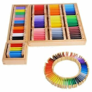 Montessori Sensorial Tablet Learning Colored Material Wooden Preschool Training