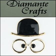 3D Hat and Glasses Gold Alloy with Black Enamel Decoden Kawaii Cabochon 3HG2013