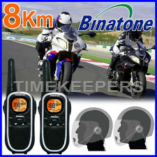 Binatone Terrain 750 Motorbike Walkie Talkie Radio Intercom + Open Face Headsets