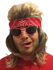 Hilarious Mullet WIG, SUNGLASSES, & BANDANA Redneck Hillbilly Costume