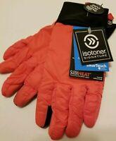 NEW! Isotoner Signature Women's SzLg SmarTouch Sleek Heat PolarTec Coral Soft!!