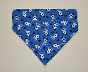 """""""I WOOF YOU"""" DOG ON DARK BLUE BACKGROUND DOG SCARF/BANDANA--S, M, L"""
