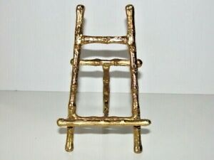 """VTG 5 1/4""""H Bamboo Gold Metal Display Stand Picture Frame Photo Holder Easel"""