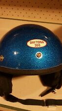 Vintag DAYTONA metalflake motorcycle/CAR RACING helmet bLUE Sparkle SIZE LARGE