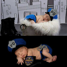 Personality Newborn baby Crochet Knit Costume Photo Photography Prop hat+trouser