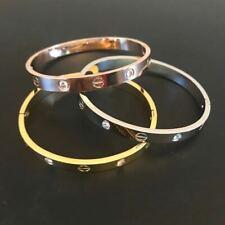 Men Women Real Stainless Steel Love Bangle Bracelet Gift Fever Fade