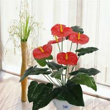 3 Heads 9 leaves Wedding Furniture Decor Artificial Anthurium Flower Plant Tree`