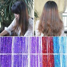 5x Glitter Tinsel hair extension  Piece Synthetic Long Straight Multicolor Gift