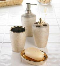 "Golden Shimmer Bath Accessory Set ""Perk Up The Bathroom"""
