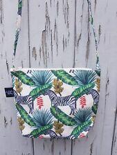Tropical Zebra Natural Canvas Handbag - Jungle Bag Purse