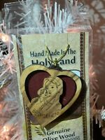 3 Pack: Olive Wood BETHLEHEM Heart Nativity Christmas Ornament made Holy Land