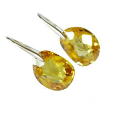 Gold Green Pink Clear Amber Magic Bean Crystal Drop 925 Sterling Silver Earrings