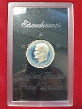 1974 S Eisenhower IKE Brown Box Coin 40% SILVER Dollar Blue Toning Toner Toned